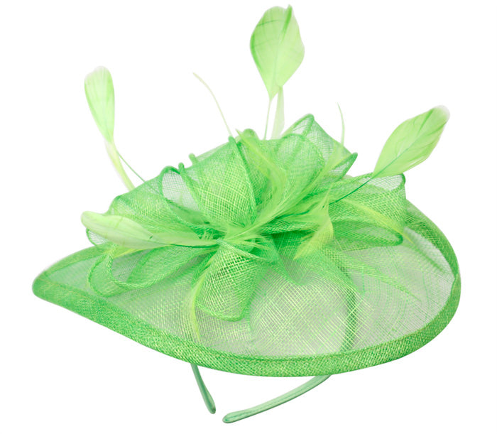 Fascinator Headband Netted Bow w/Feathers