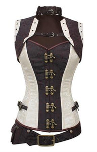 Cream-Brown Brocade Overbust Corset, Belt with attached pouch & Bolero