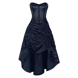 Corset Dress Navy Satin