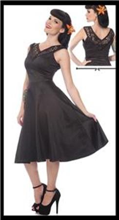 Flared Stretch Satin Dress w-Lace BK