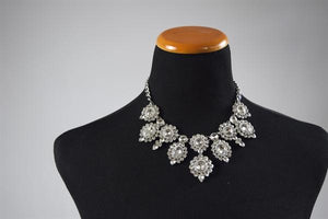 Silver-Rhine Multi Circle Necklace Set