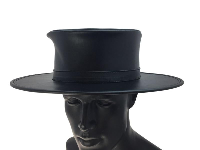 Western Black Pleather Hat