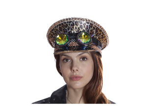 Leopard Festival Peaked Cap w/ Goggles