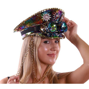 Military Style Rainbow Sequin and Jeweled Hats, with Goggles and Chain