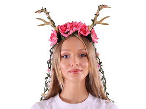 Headband w-Antlers and Pink Roses