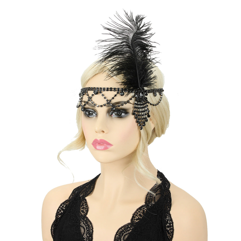 Flapper Headband Black Rhinestone w/ Black Feather
