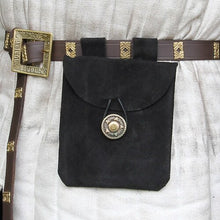 Load image into Gallery viewer, Pouch Black Suede Medieval Pouch