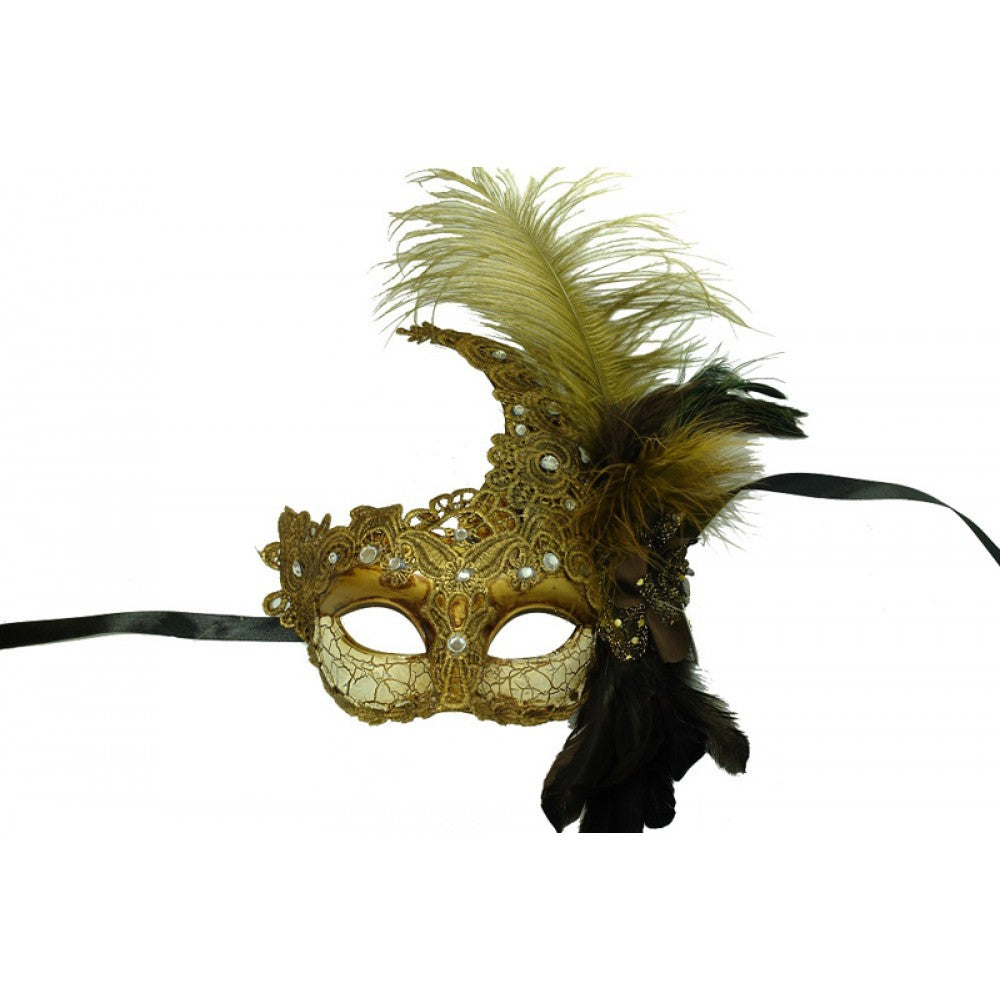 Masquerade Mask  Gold/Ivory with Lace Overlay