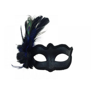 Venetian Mask Black with Side Feathers