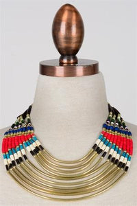Necklace Tribal Beads w-Brass Tubes