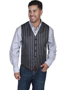 Vest Pinstripe No Lapel Black