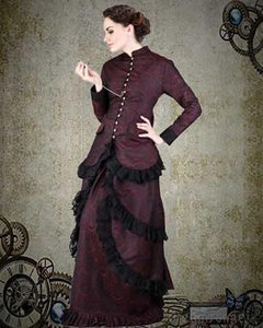 3PC Red/Black Brocade Victorian Dress