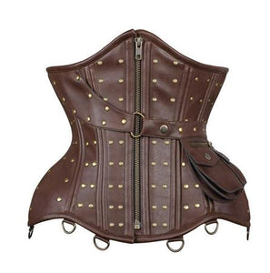 Underbust Faux Leather Rivets & Pouch