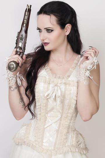 Corset Cream Brocade and Lace