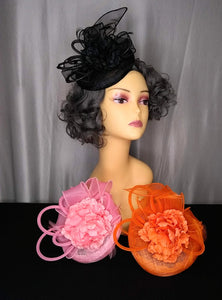 Fascinator Floral Feather Mesh
