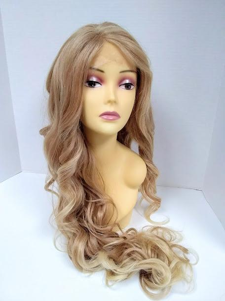Primrose Long Loose Curls with Bangs Mixed Blonde