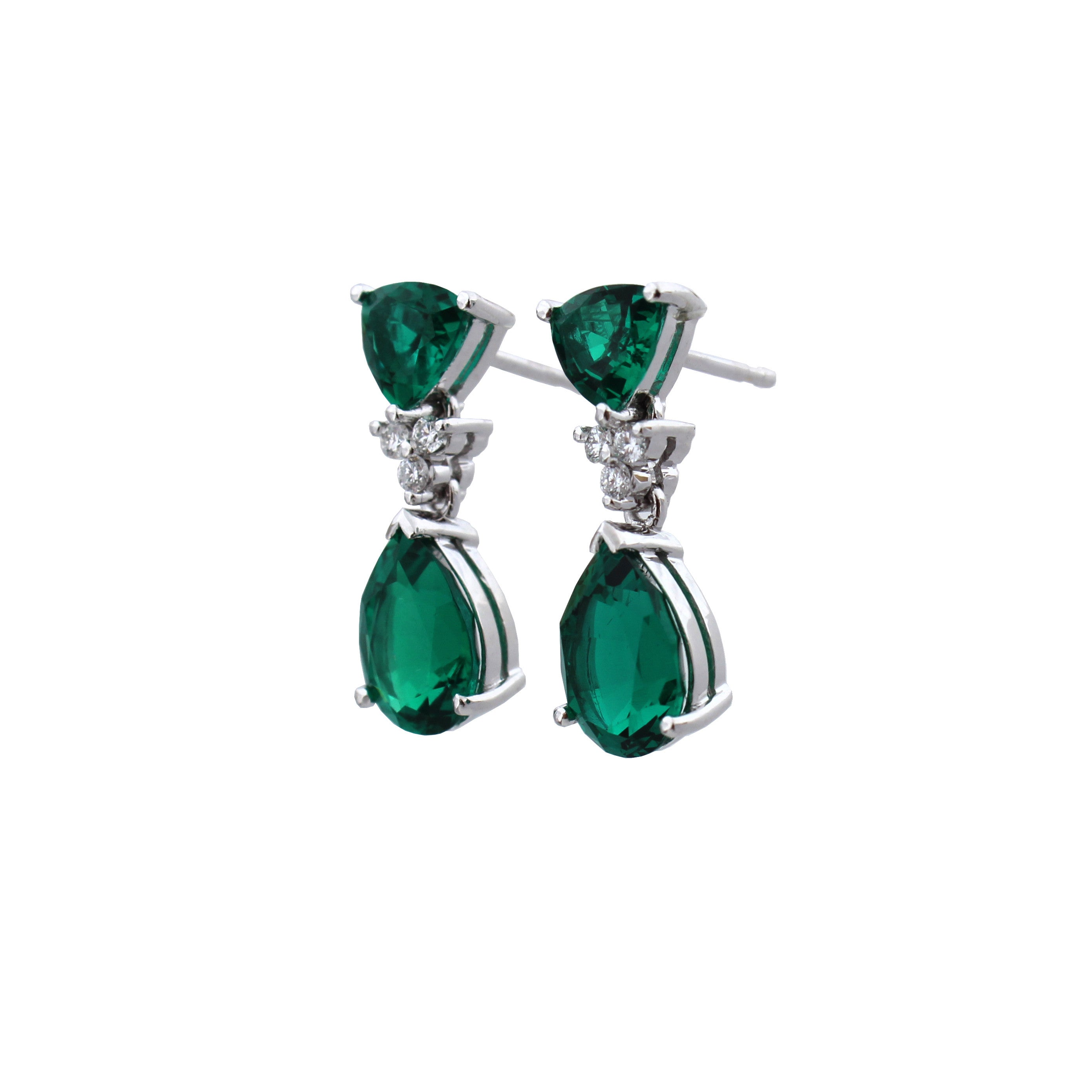 Bespoke Trillion and Pear Shape Emerald Earrings