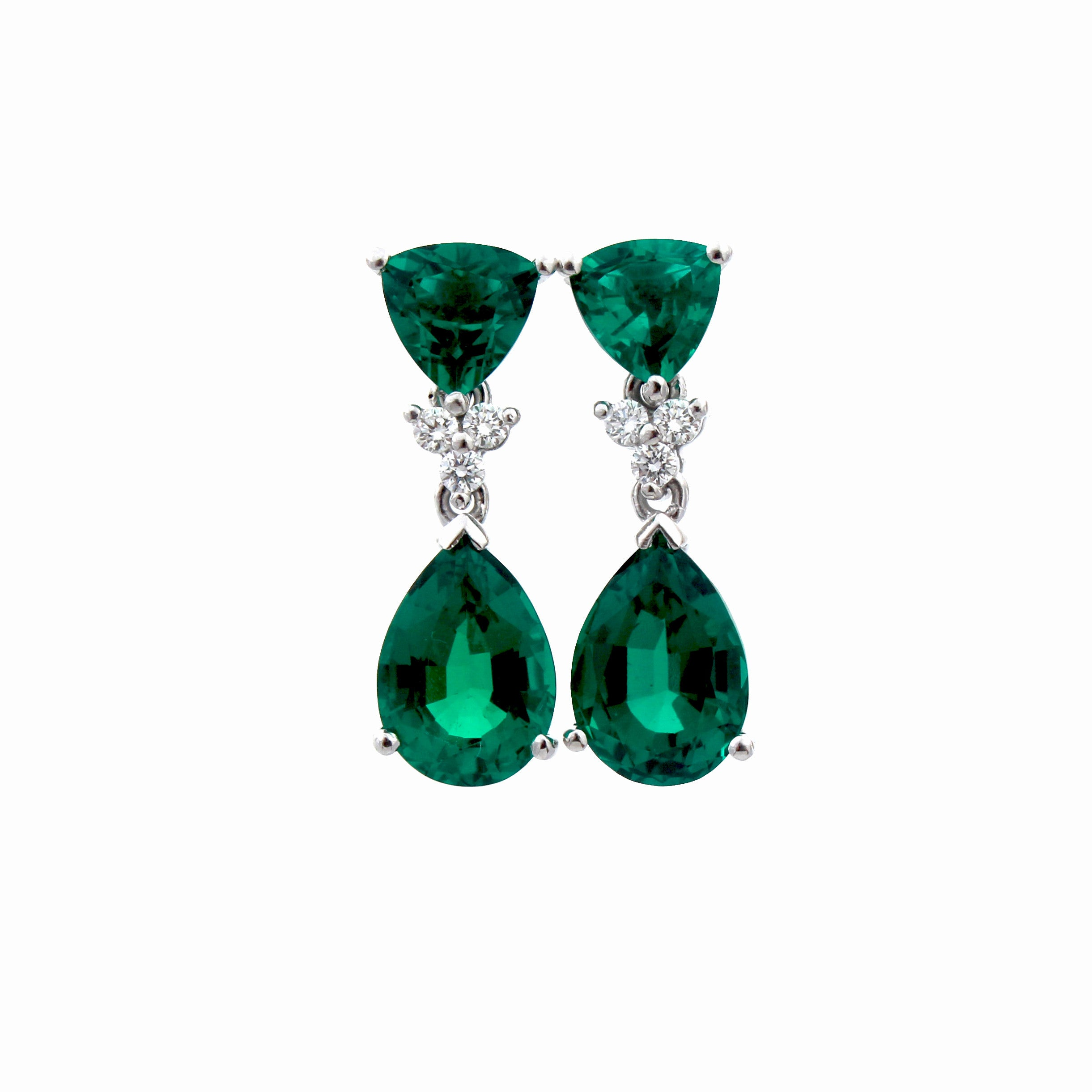 Trillion and Pear Shape Emerald Earrings