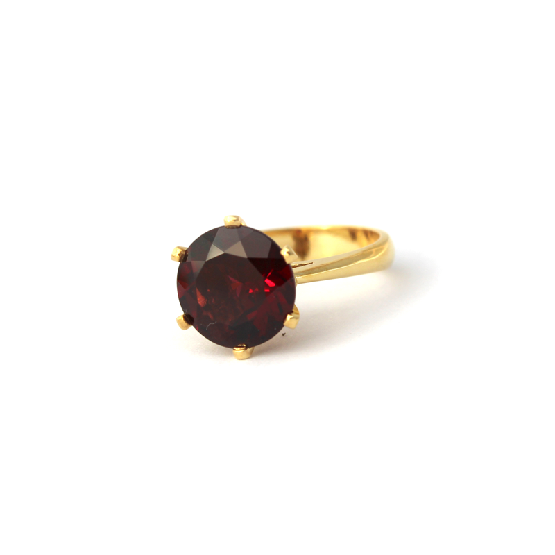 Enchanted Crown Ring Yellow Gold and Rhodolite Garnet