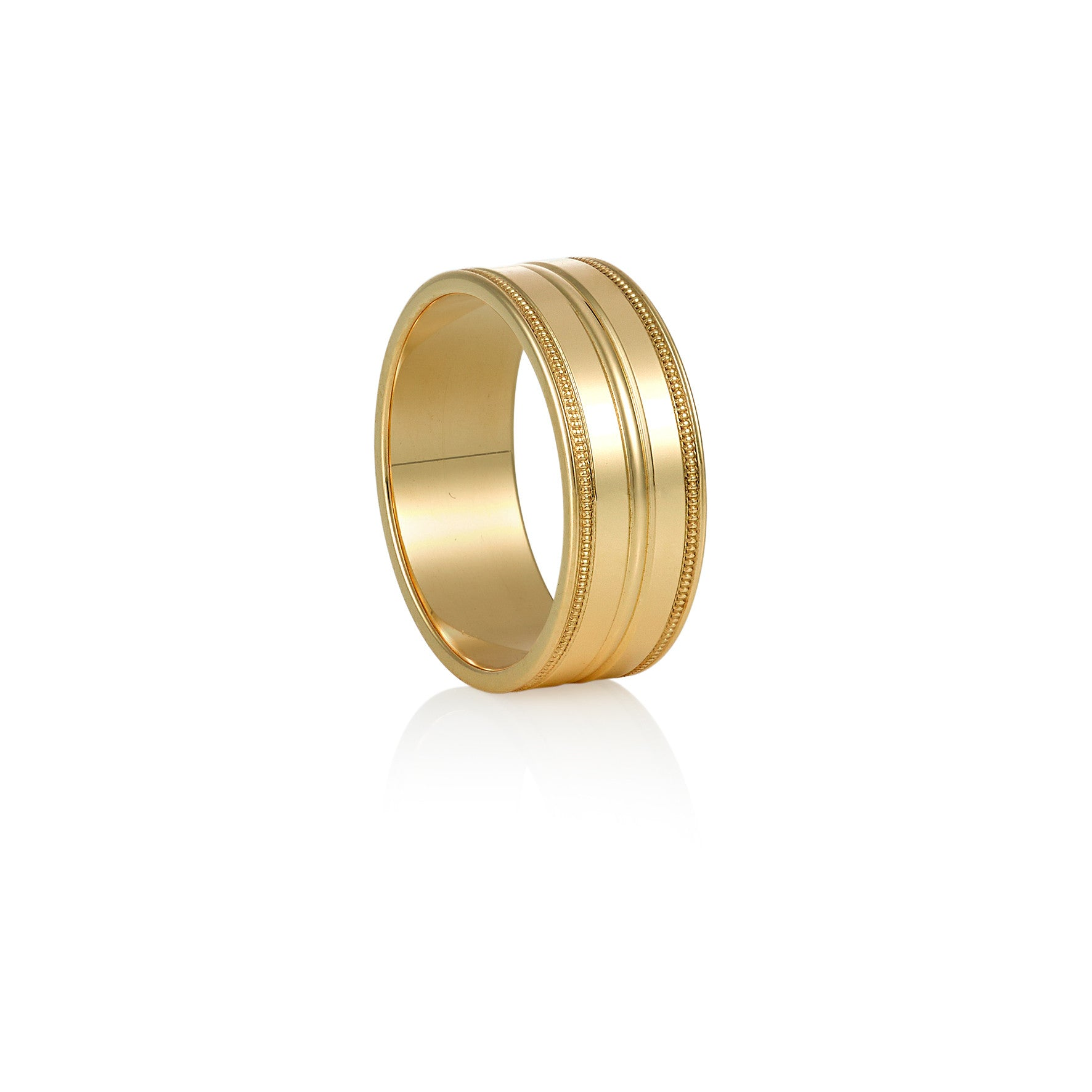 Yellow Gold Ring with Millegrain Edge and Central Grooves