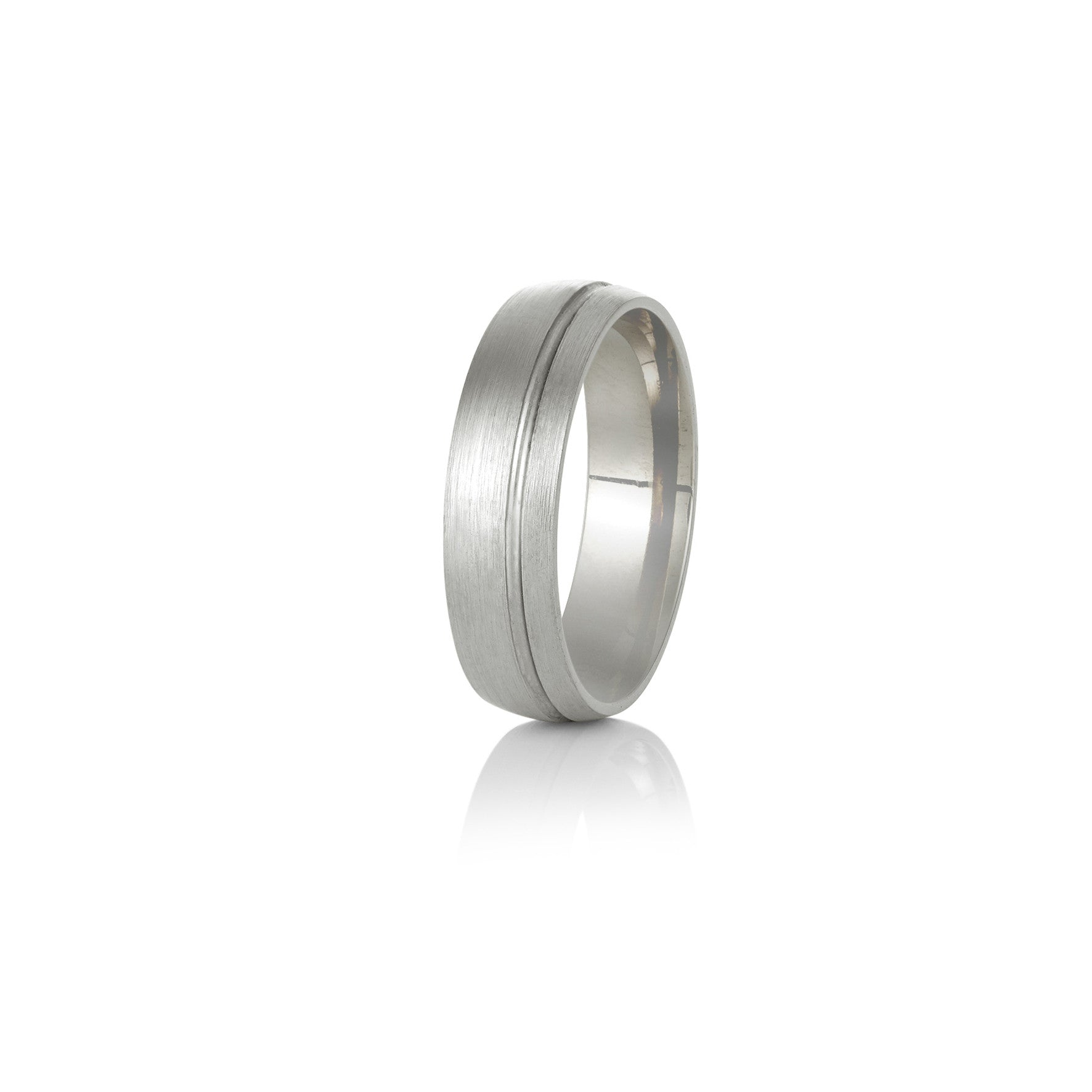 White Gold Wedding Band - Half Round off-set channel