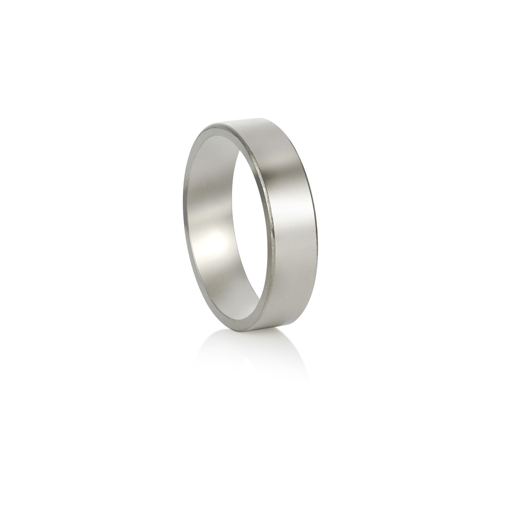 White Gold Wedding Band - Flat Profile