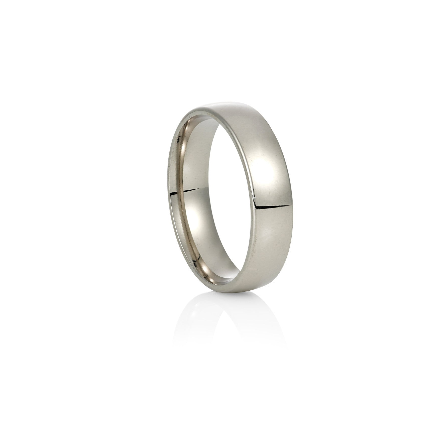 White Gold Wedding Ring: Low Half Round