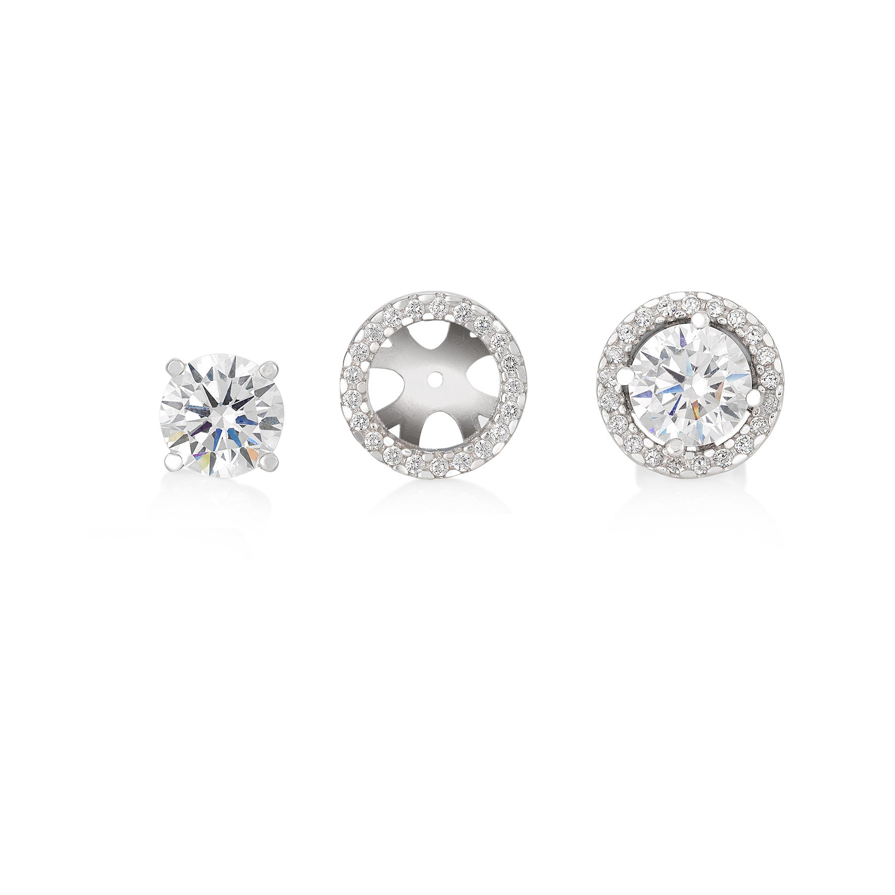 Round Brilliant Solitaire Earrings with optional Halo