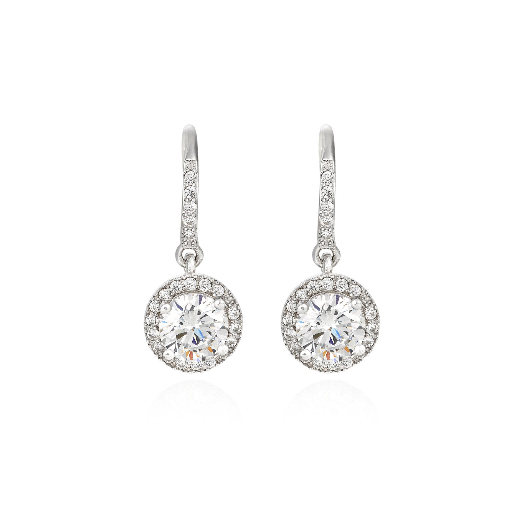 Round Brilliant Solitaire with Halo Drop earrings