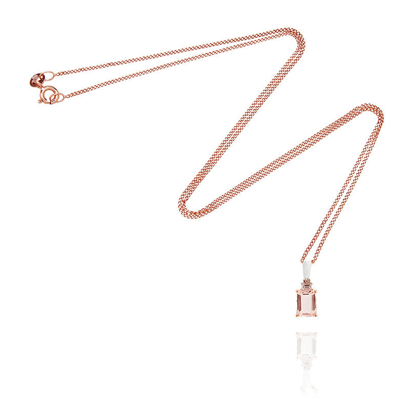 Morganite Pendant with White Gold and Rose Gold Fine Link Chain