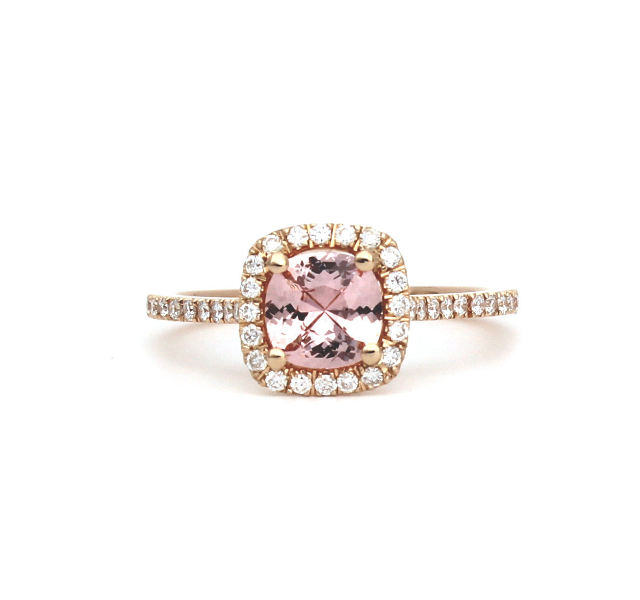 Lucy Miller Engagement Ring - Rose gold with sapphire surrounded by diamonds