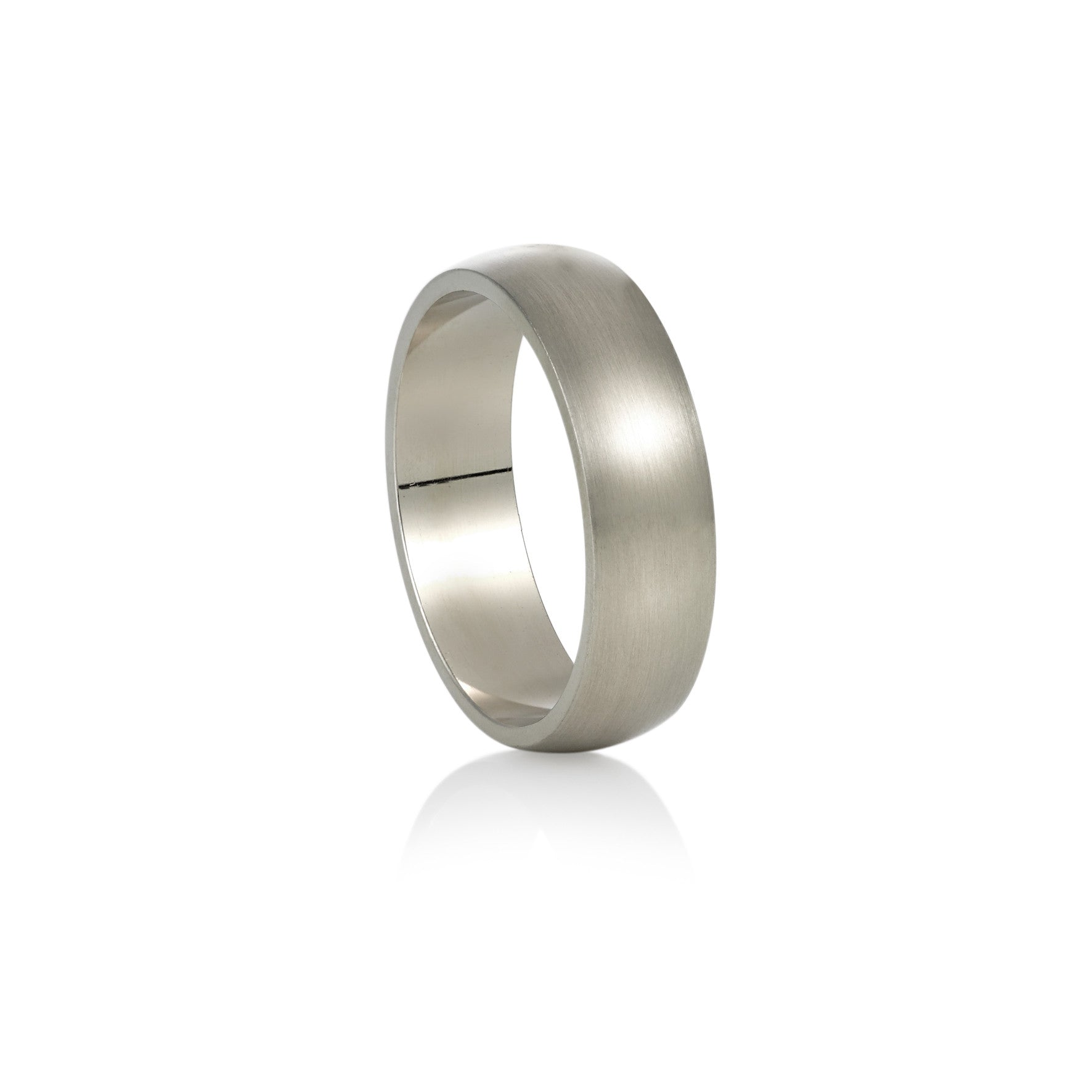 White Gold Wedding Band - Half Round Emery Finish