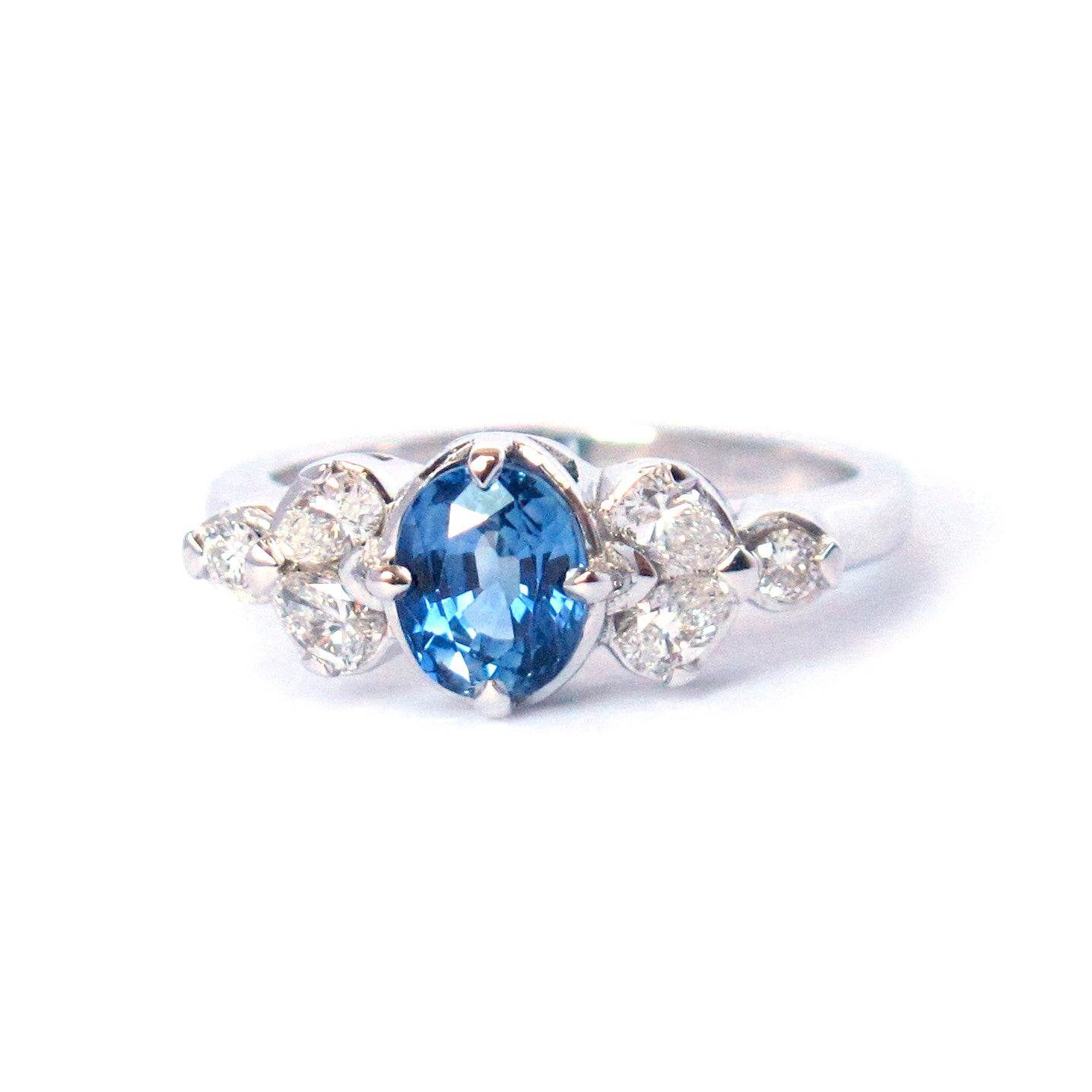 Oval Ceylon Sapphire Engagement Ring