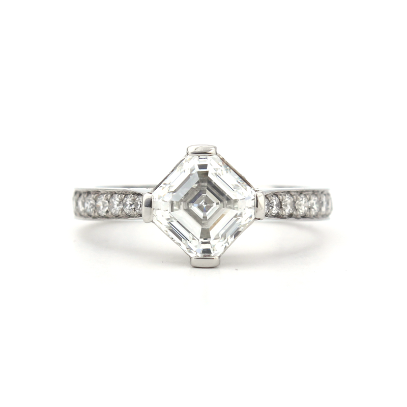 Meredith Engagement Ring - Platinum ring with square emerald cut diamond