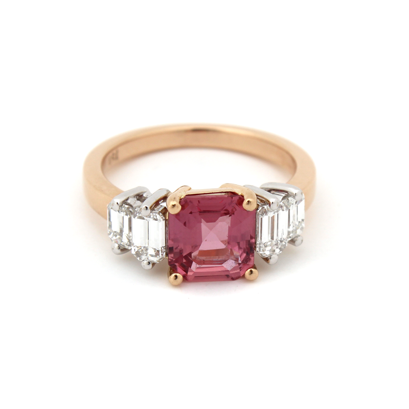 Siobhan Engagement Ring - Peachy Raspberry Pink Sapphire