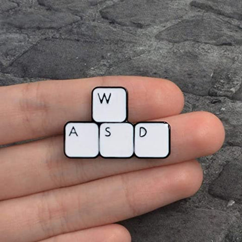 WASD Gaming Pin Badge Keyboard Gamer Gift