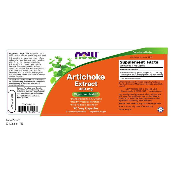 Now Foods - Cápsulas de Extracto de Alcachofa 450 mg - 90 caps