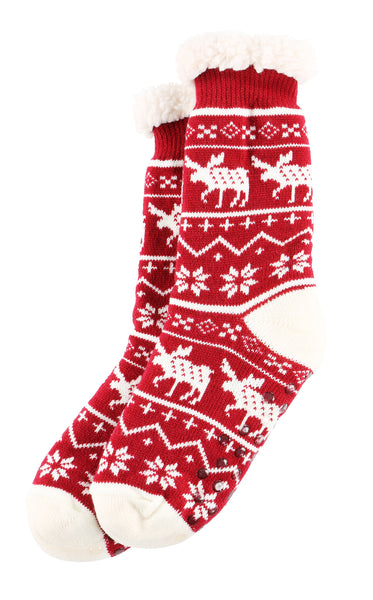 Nordic Moose Plush Socks
