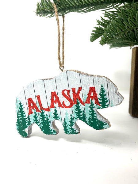 Wood Grizzly Shape Ornament