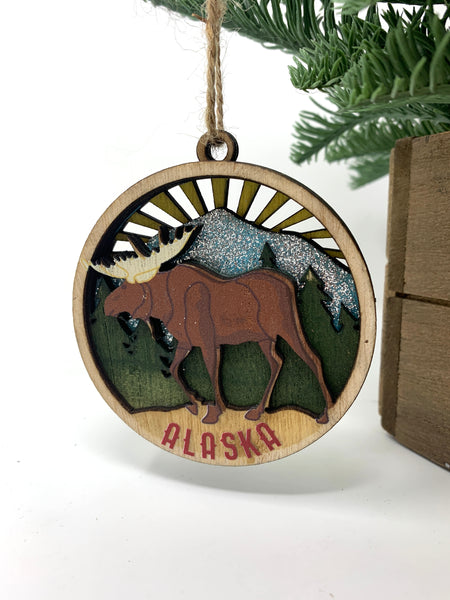 Wood Layer Moose Ornament