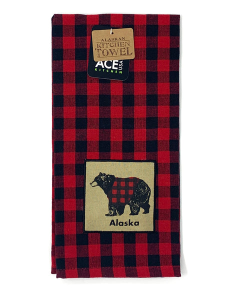 Buffalo Plaid Bear Kitchen Towel