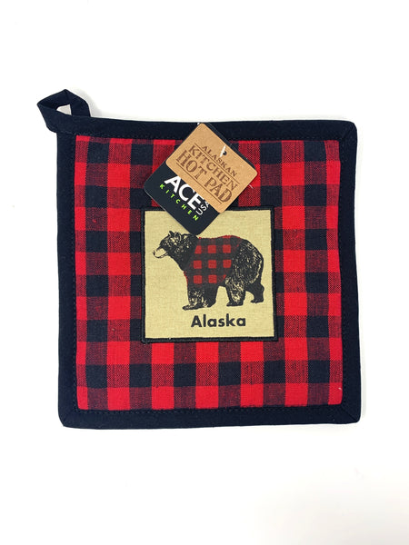 Buffalo Plaid Bear Hot Pad