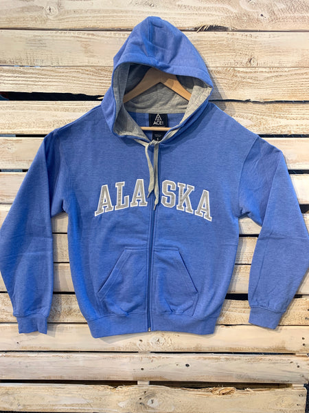 Heather Blue Zip Hoodie