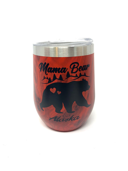 12oz Mama/Papa Bear Wine Bottles - Red