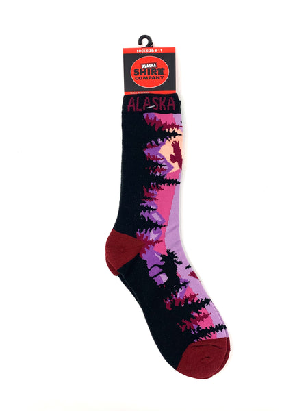 Moose/Mountain Scene Socks