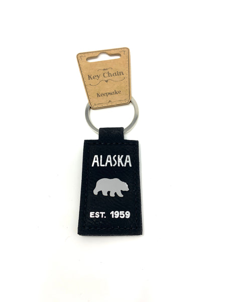 Bear Faux Leather Keychain