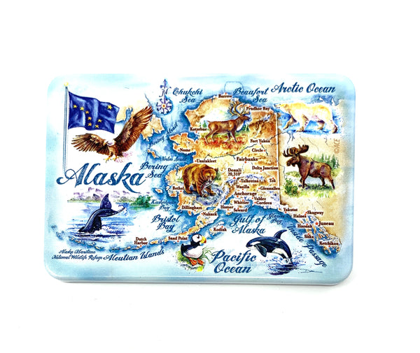 Watercolor Map Tin Plate Magnet