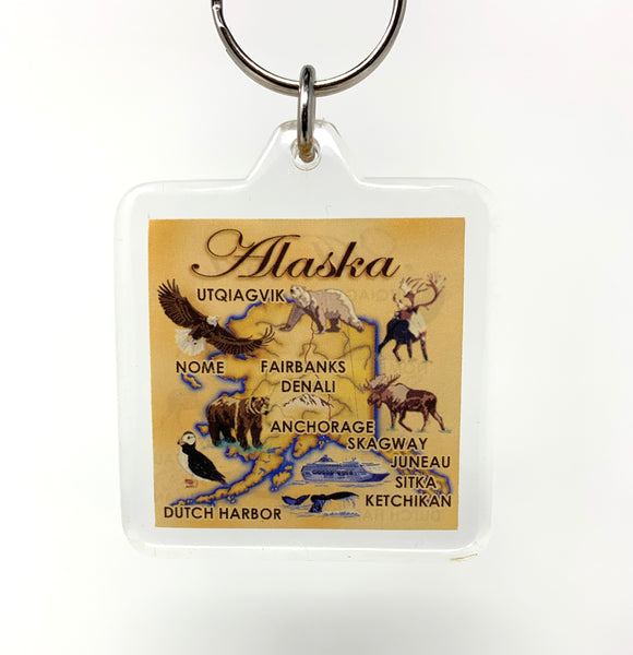 Map Lucite Keychain