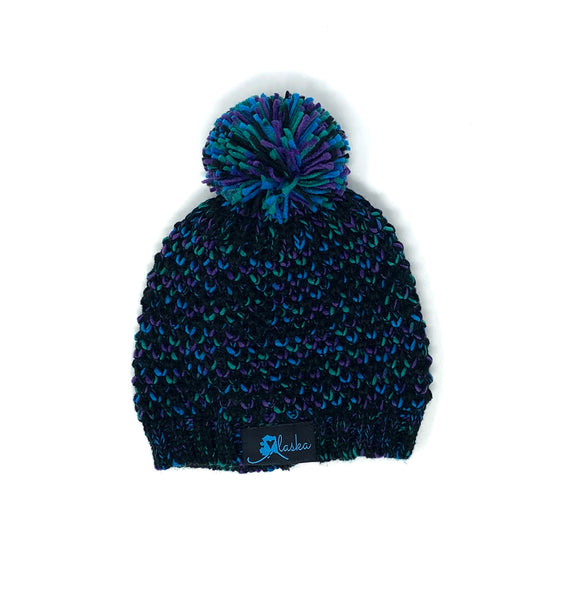 Woven Patch Knit Hat