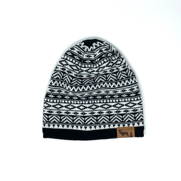 Black & White Pattern Knit Hat